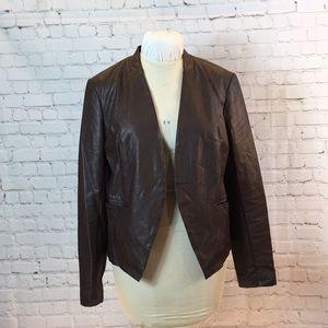"""Bagatelle """"leather"""" box jacket asymmetrical hem"""